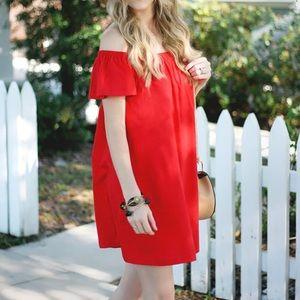 ASOS Dresses - Red Off Shoulder Dress